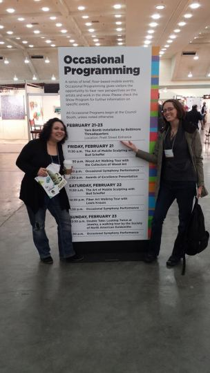 Marlo and Allison getting ready for their talk at the 2014 ACC
